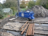 Baugrube, mit Baggermattratzen ausgelegt